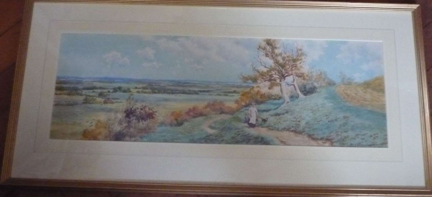 Watercolour of 'Sussex downland' by Clem Lambert