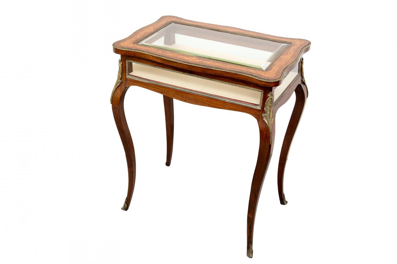 A fine quality inlaid rosewood display table