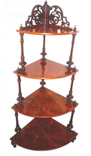 Victorian burr walnut whatnot circa 1865
