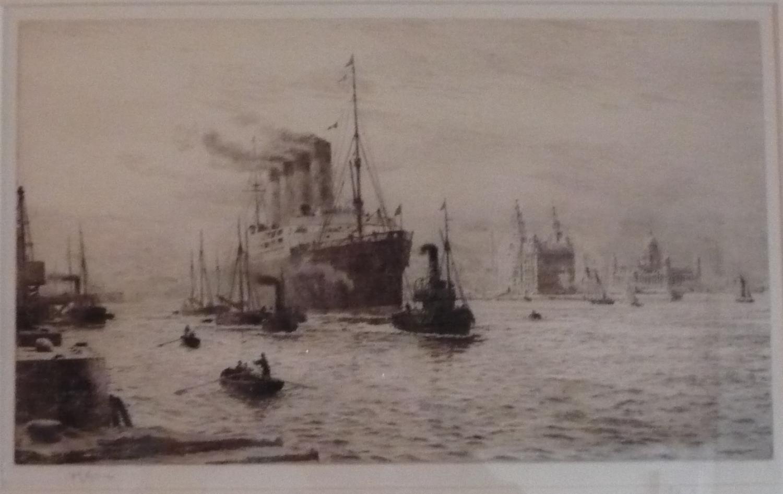 Etching by W.L.Wyllie RA  RMS Mauretania