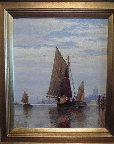 Oil painting 'On the Adur' by F.J.Aldridge