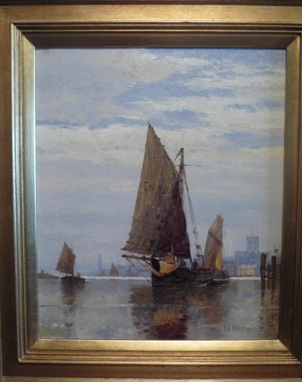 Oil painting 'On the Adur' by F.J.Aldridge