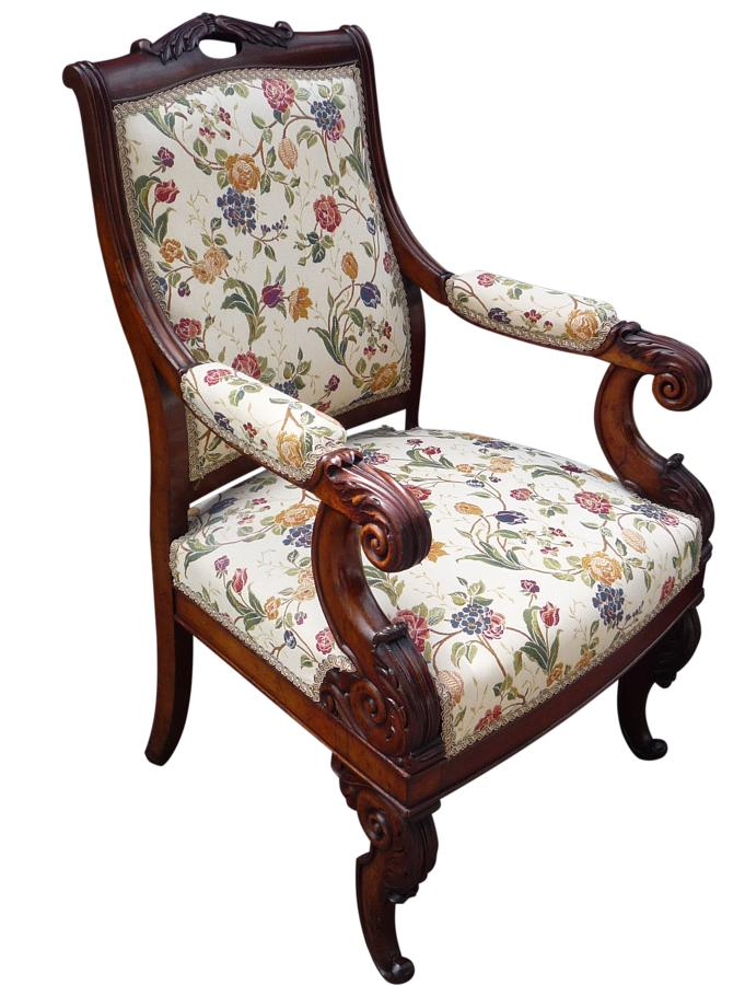 A French carved mahogany arm chair