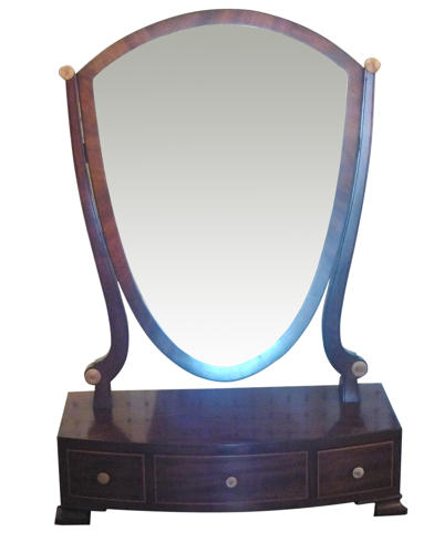 Georgian mahogany bow toilet mirror c1820