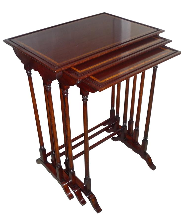 Edwardian inlaid mahogany nest of tables