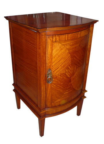 Edwardian inlaid satinwood bedside cupboard