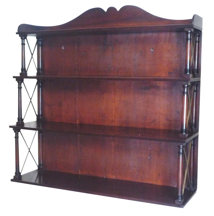 Fine set of Regency mahogany shelves. Small antique furniture