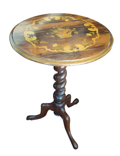 Victorian rosewood marquetry tripod table