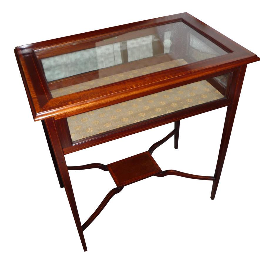 Edwardian inlaid mahogany display table c1910