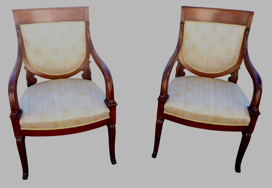 A fine pair of French mahogany arm chairs  circa 1870. Antique drawing room furniture