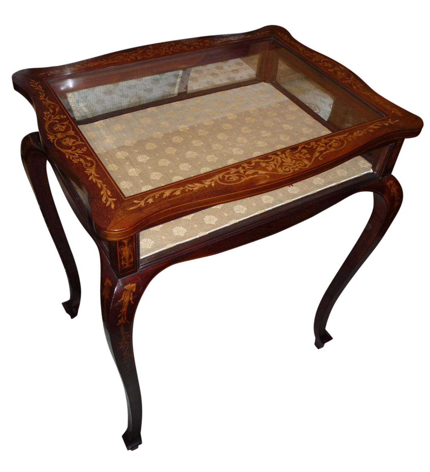 A mahogany inlaid display table circa 1900