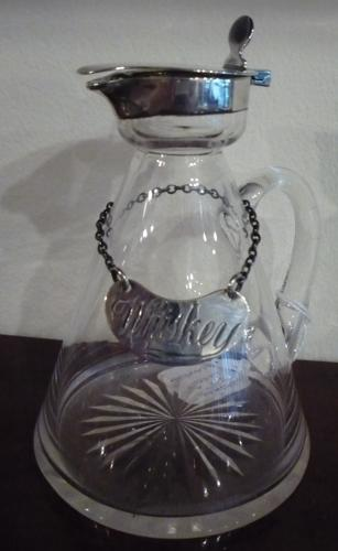 Whiskey silver & glass jug