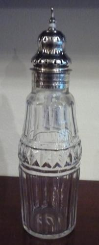 Silver & glass sugar sifter by P & A Bateman