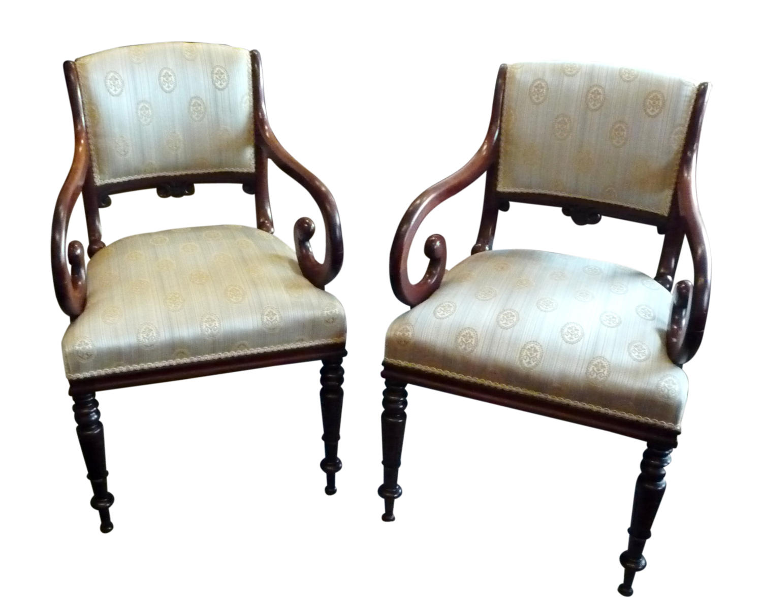 A pair of William IV mahogany elbow chairs circa 1830