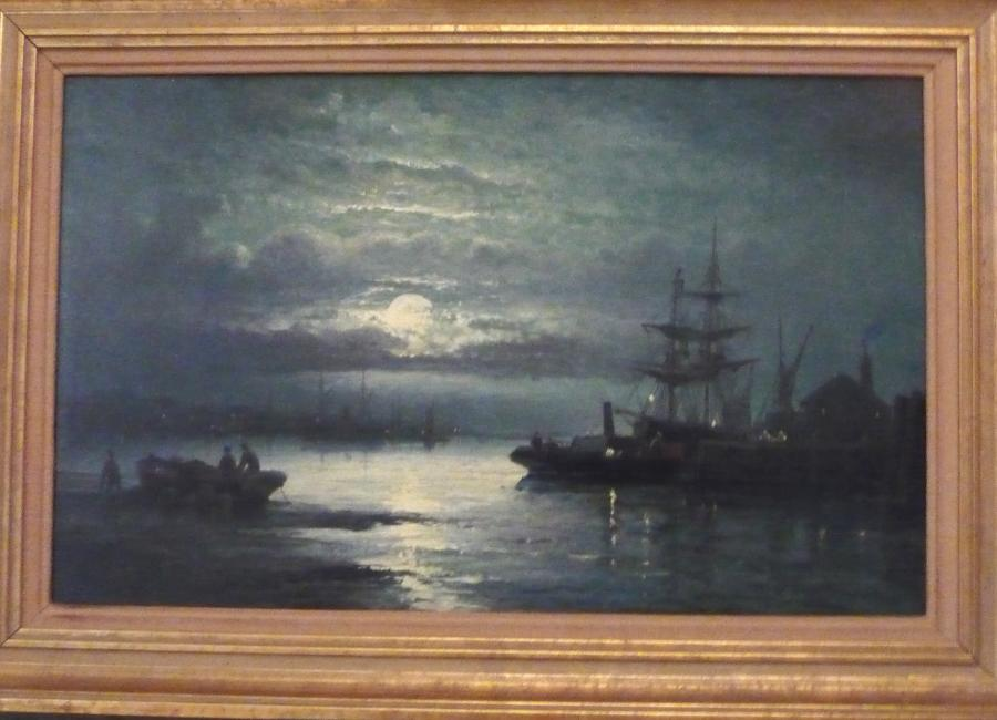 Oil painting 'Moonlight' by William Thornley circa 1890