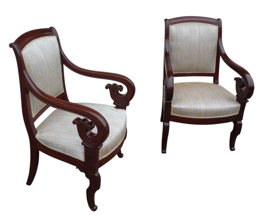 A fine pair of French mahogany arm chairs, circa 1860 - Antique Library Furniture