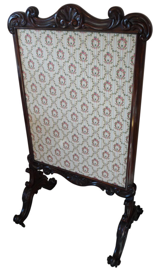 Victorian rosewood fire screen circa 1850
