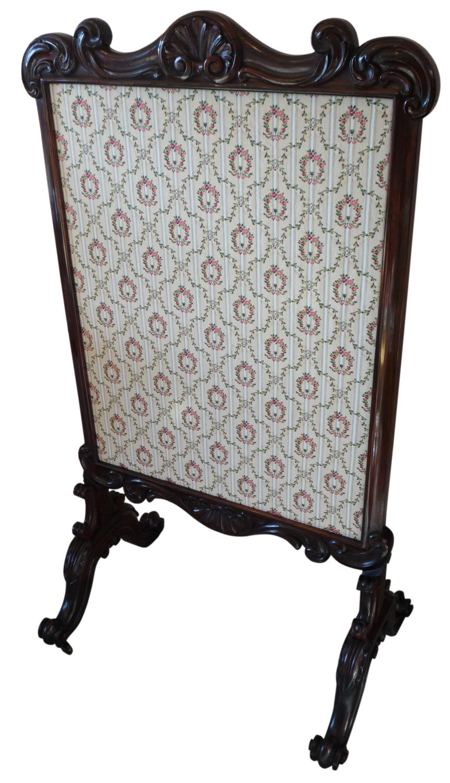 Victorian rosewood fire screen circa 1850