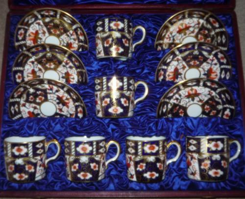 Royal Crown Derby boxed coffee set circa 1895