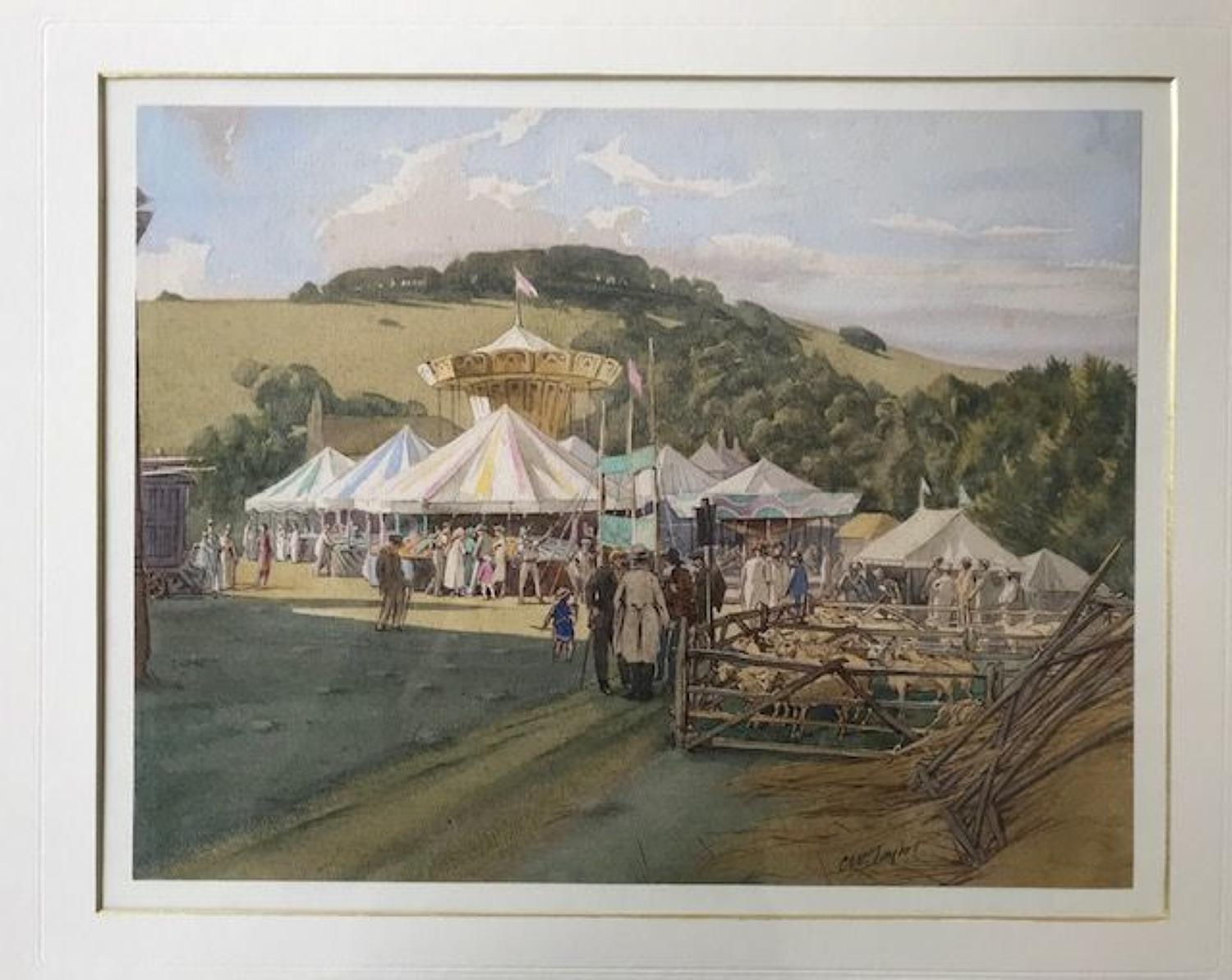 'Findon Sheep Fair by Charles W.Taylor circa 1950