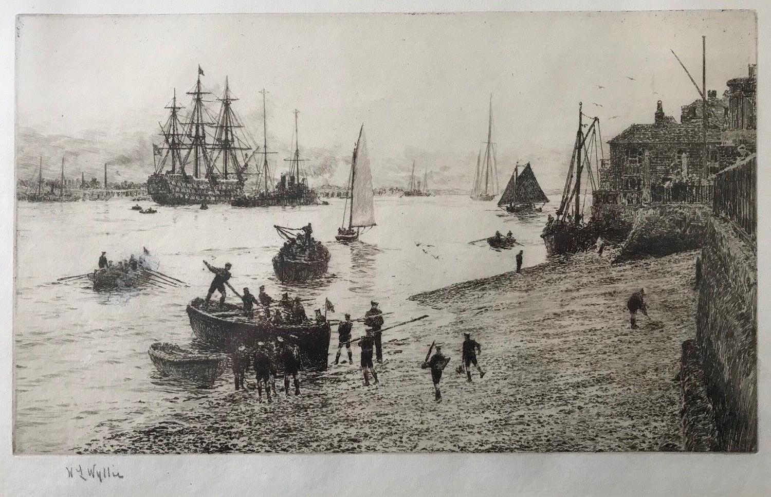 W.L.Wyllie RA signed etching 'Sea scouts' 1916