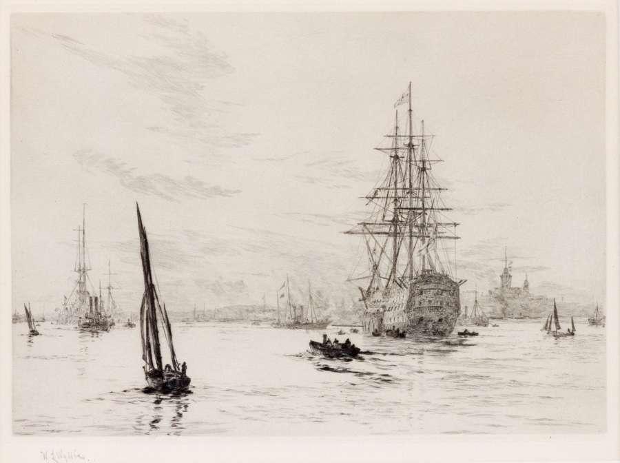 Etching HMS Victory in Portsmouth by W.L.Wyllie