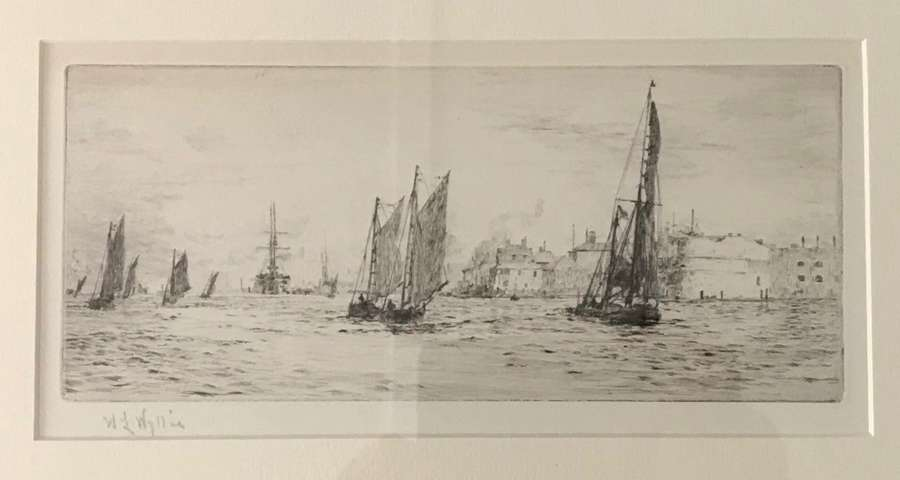 Etching by W.L.Wyllie RA 'Portsmouth Harbour' circa 1920