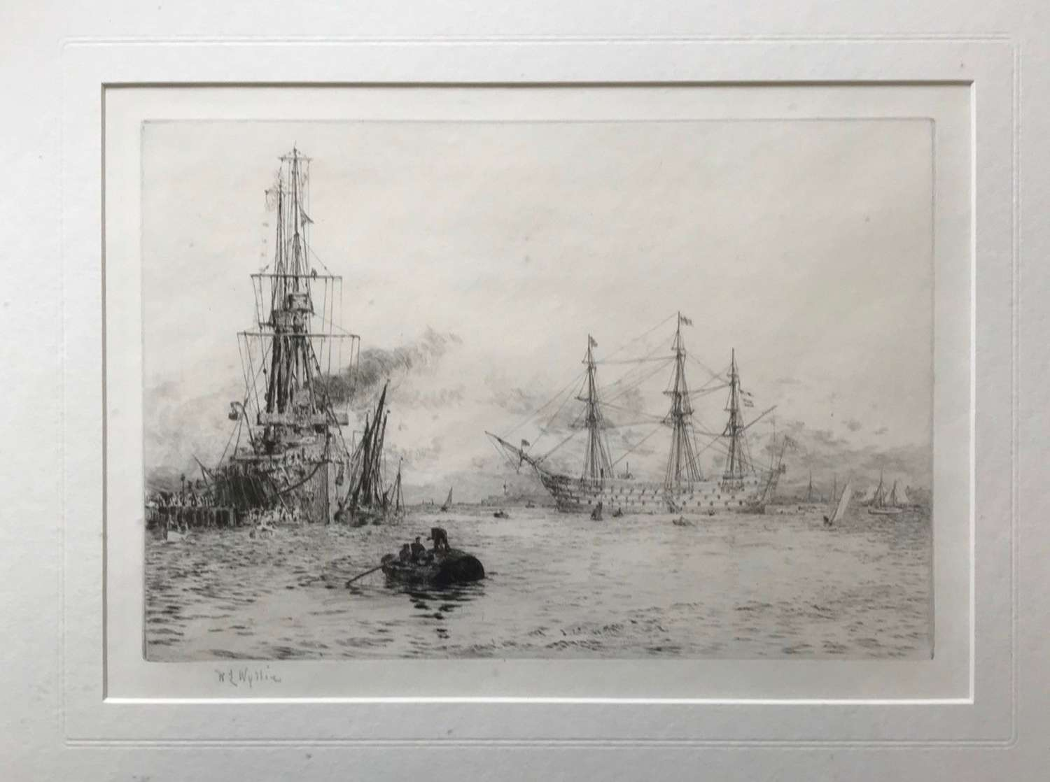 Etching by W.L.Wyllie RA 'HMS Invincible & HMS Victory' circa 1920