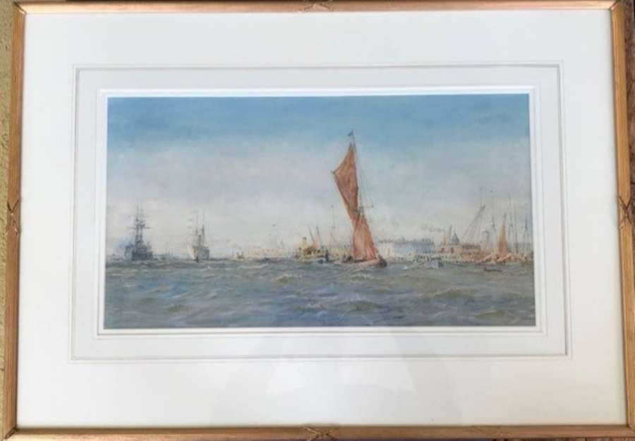 Watercolour by W.L.Wyllie RA 'Sailing off Sheerness '