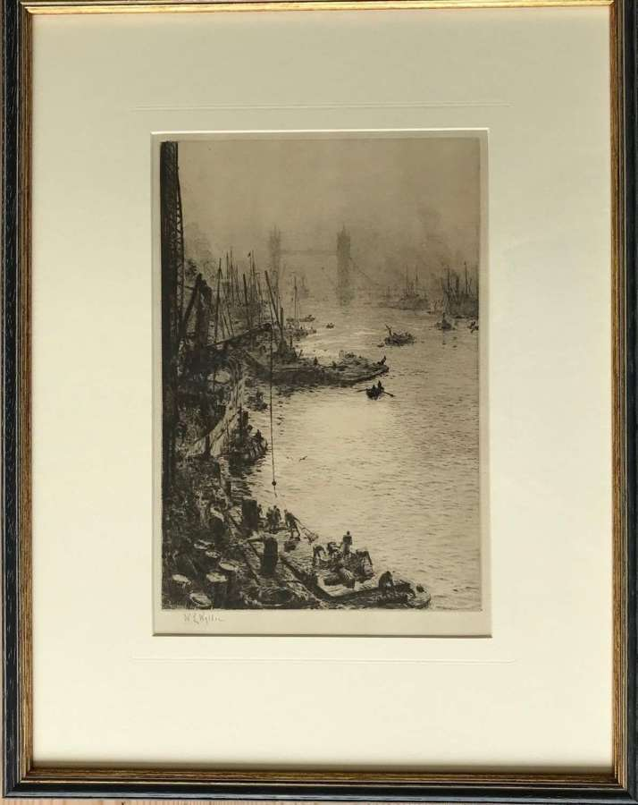 Etching by W L Wyllie RA 'The Pool of London' circa 1920