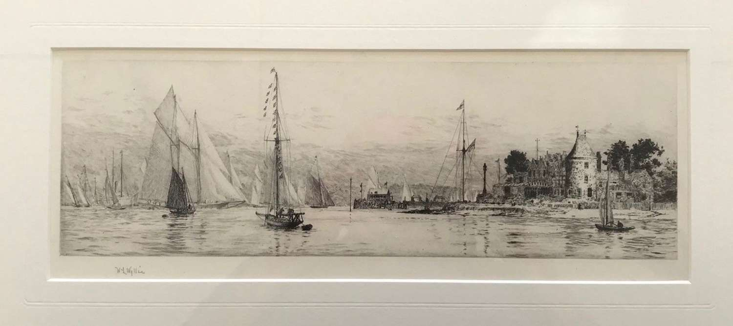 Signed etching by W L Wyllie RA ' Yachting off the RYS, Cowes' c 1920