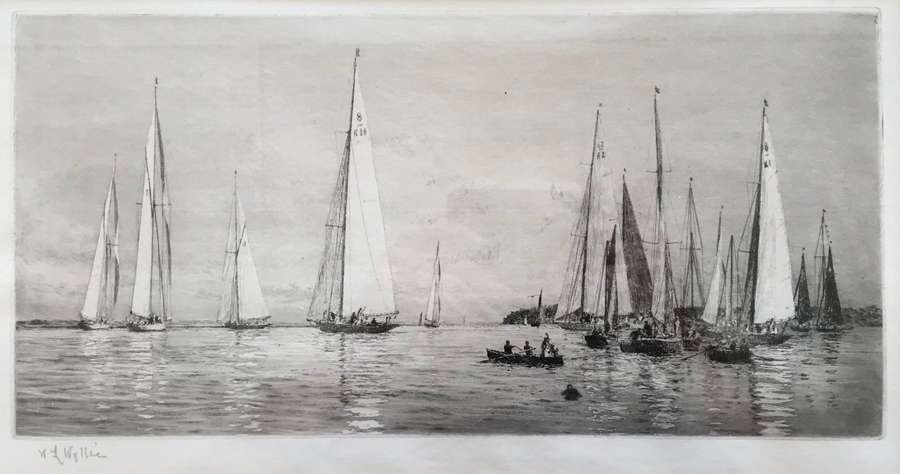 Etching by W L Wyllie RA '8 & 12m yachts racing at Cowes' circa 1920