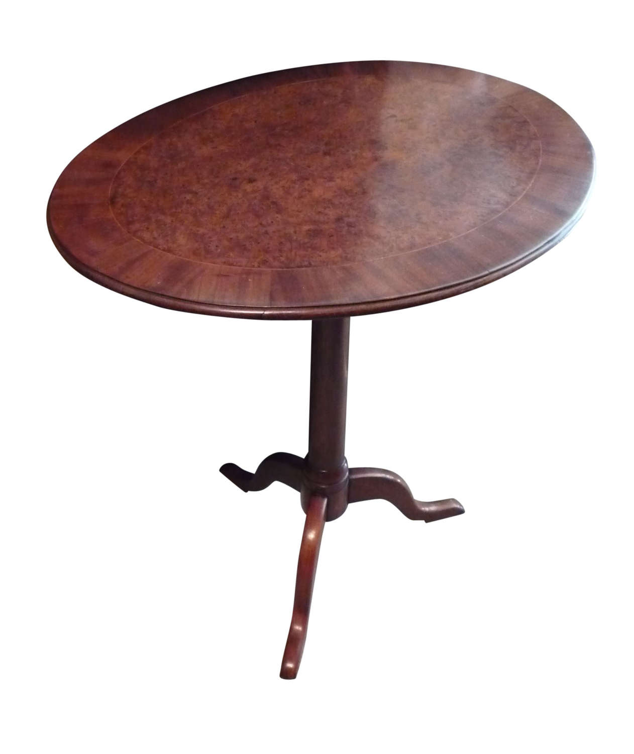 A walnut & burr yew tripod table circa 1830