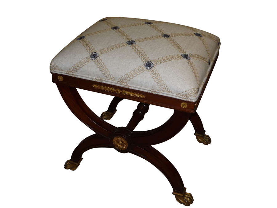 Antique mahogany stool in the French style circa 1875