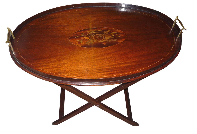 Edwardian inlaid mahogany folding butlers tray & stand circa 1910