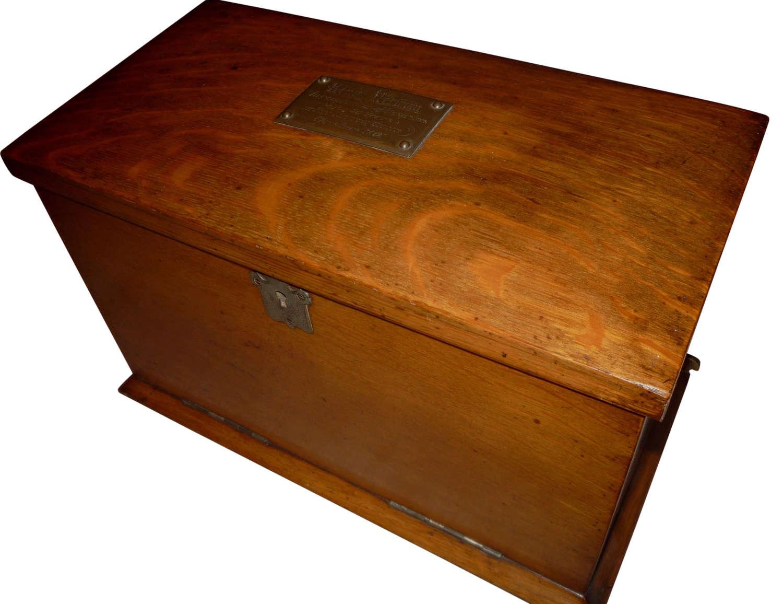 A fine  Victorian oak folding writing box 1901