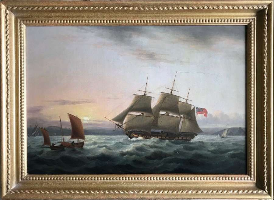 A fine marine painting by Thomas Luny 1750 – 1837 'Off Plymouth'