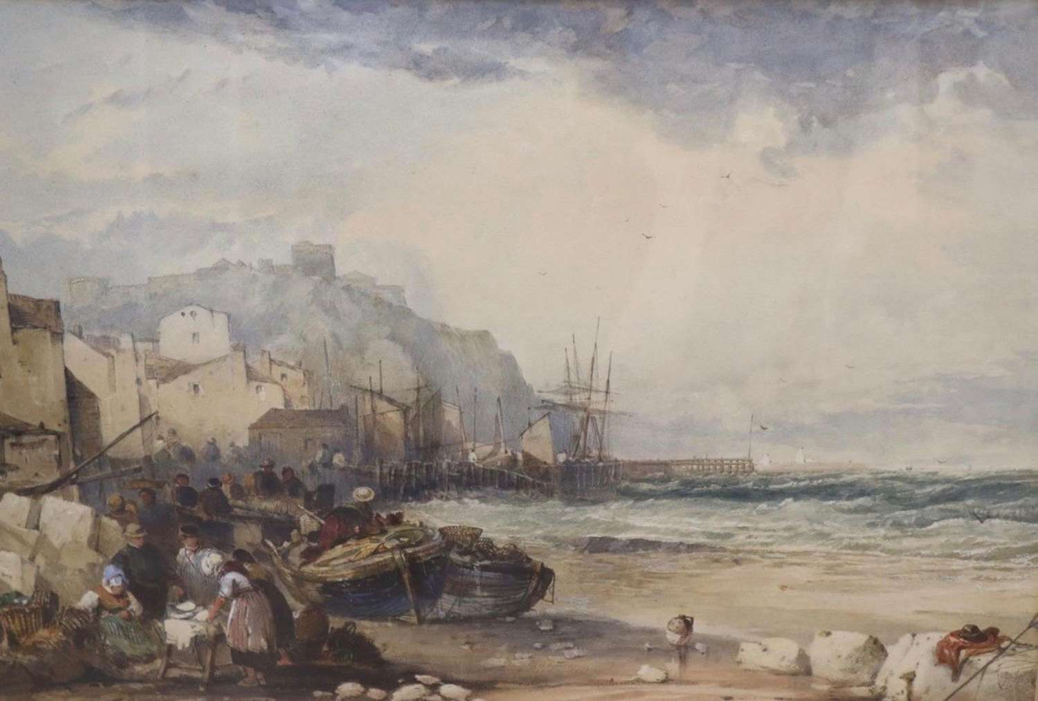 'A windy day at Dover harbour' circa 1870 attributed to J.C.Salmon