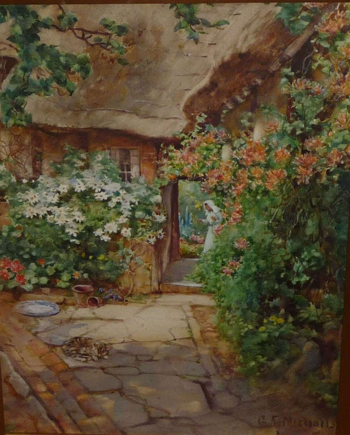 'A quaint corner at Wick' watercolour by George F  Nicholls circa 1920