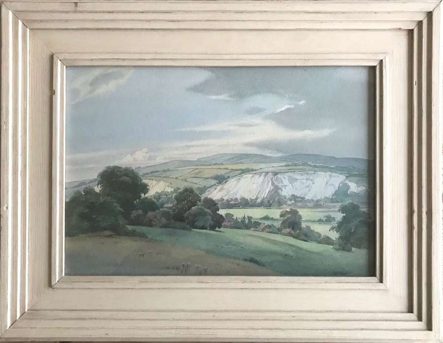 Watercolour by Charles W Taylor 'Amberley chalk pits' circa 1920