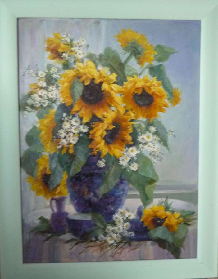 'Sun flowers 'oil painting by J.Rockingham