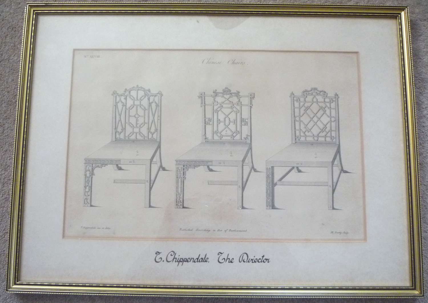 An engraving from 'The Cabinet makers Director' by Thomas Chippendale.