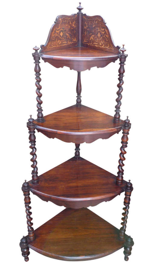 A good Victorian inlaid rosewood corner whatnot circa 1865