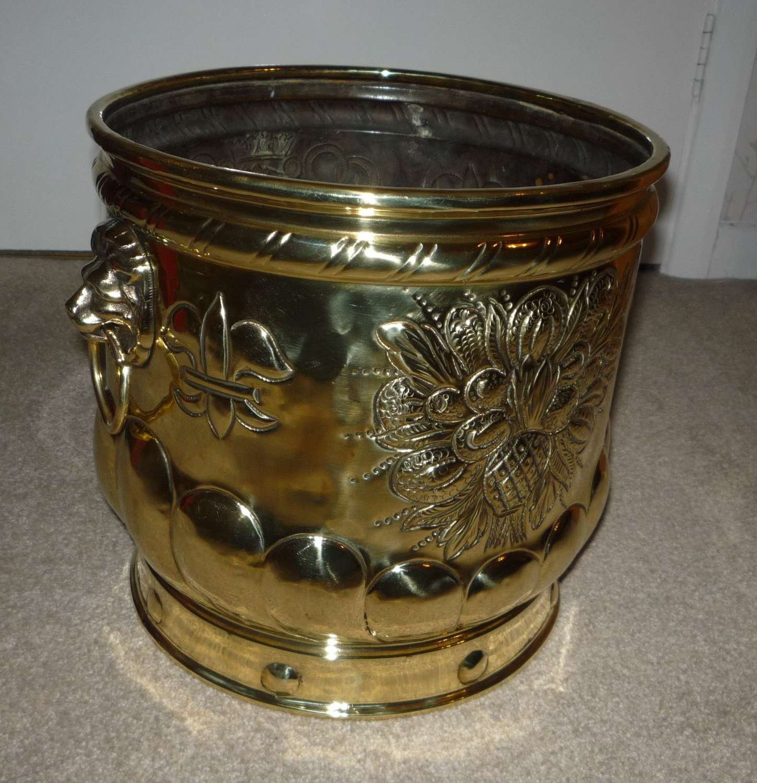 Embossed brass pot circa 1900