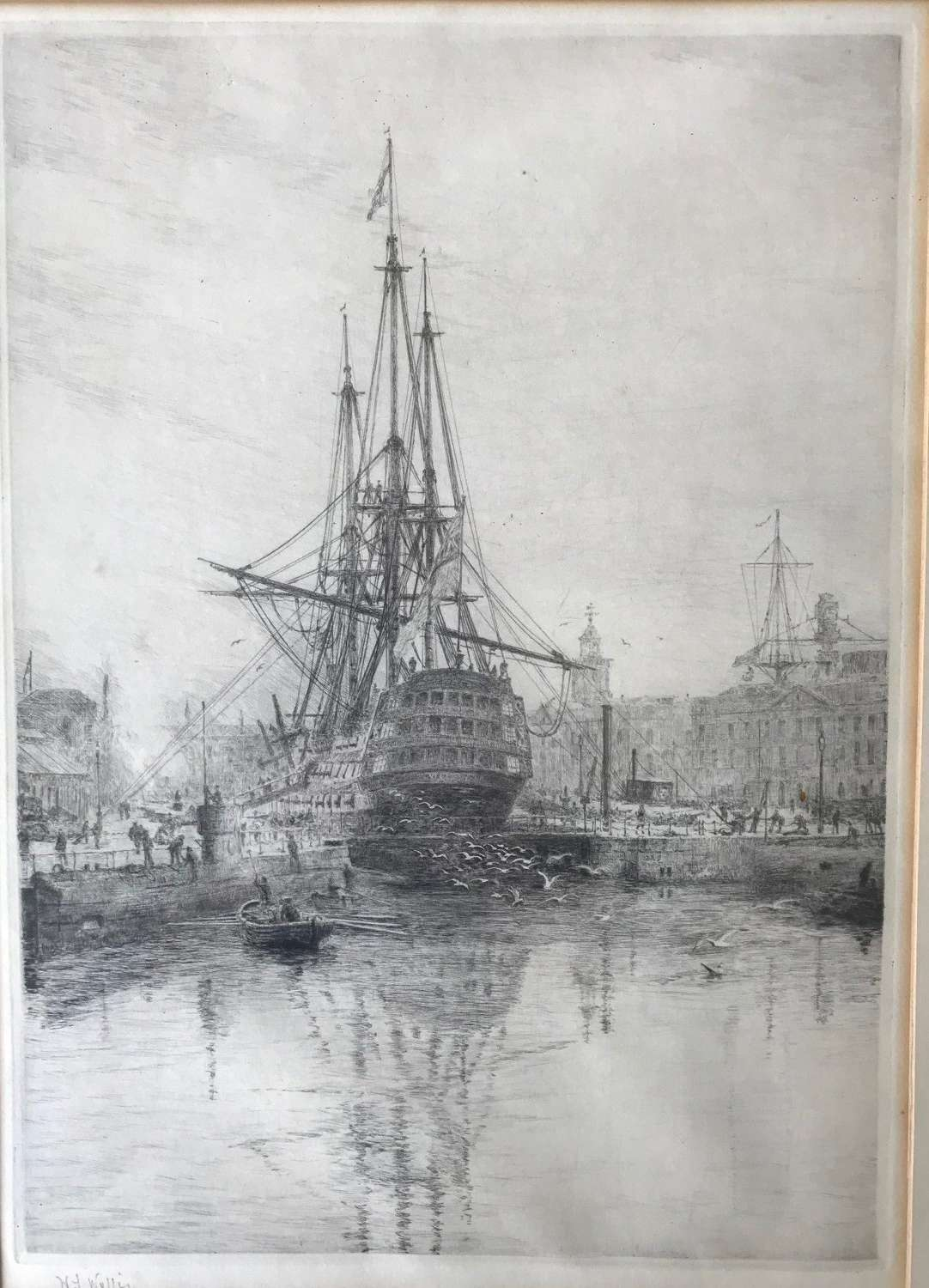 'HMS Victory in dry dock' etching by W.L.Wyllie RA circa 1920