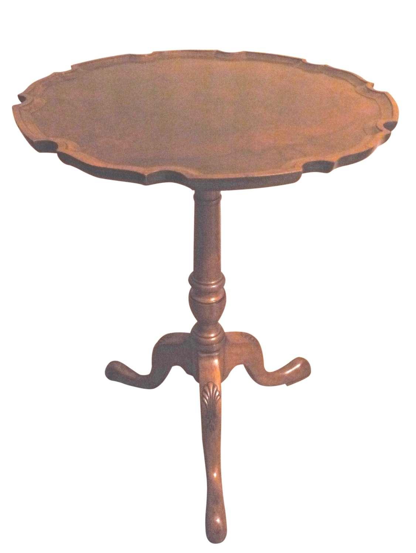 Walnut tripod table with piecrust burr walnut top circa 1925