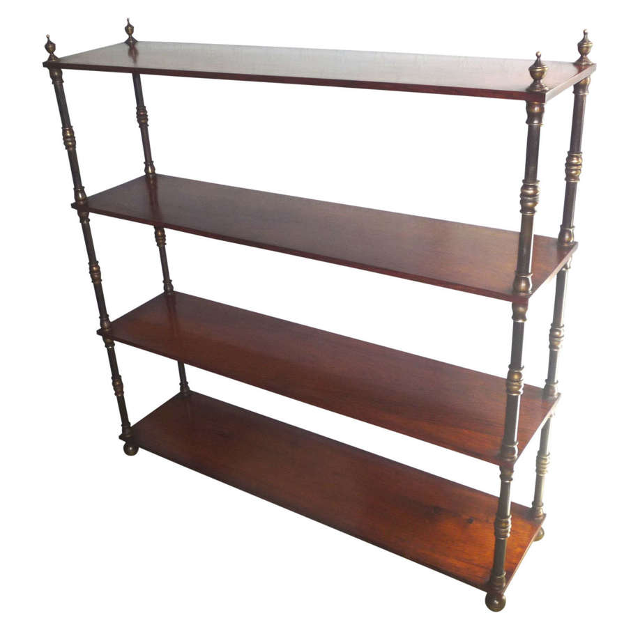 A fine & rare rosewood standing bookshelves with brass turnings c.1840