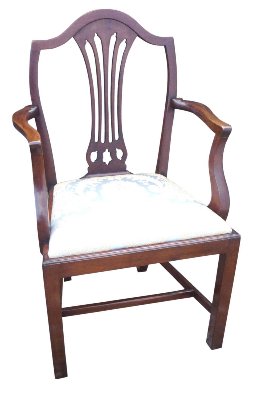 A Hepplewhite period mahogany elbow chair circa 1795