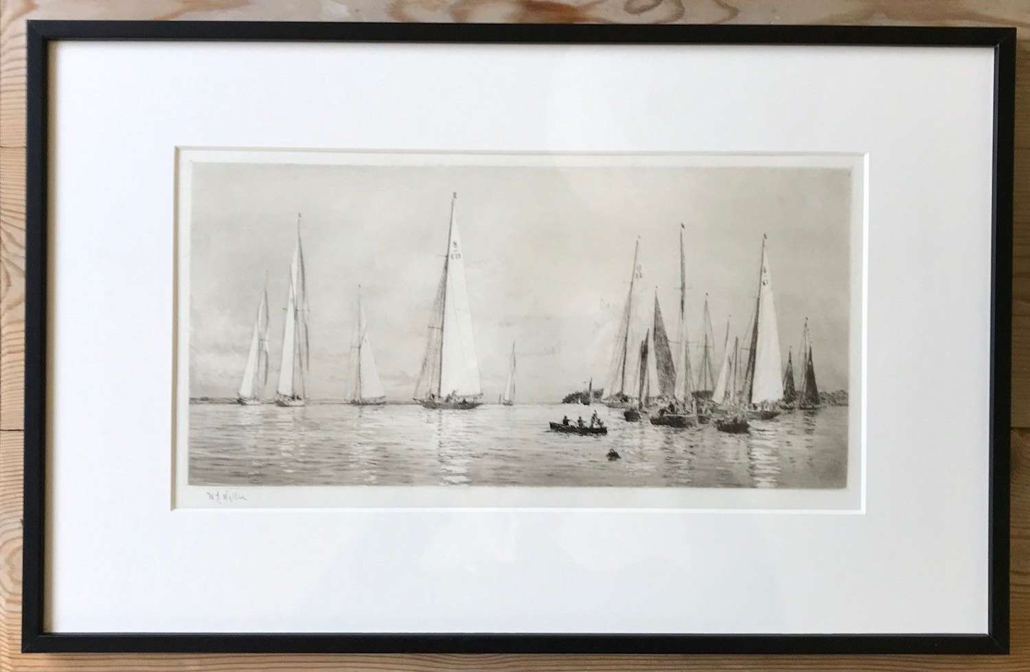 'Sailing off Cowes' etching by William L. Wyllie RA circa 1910