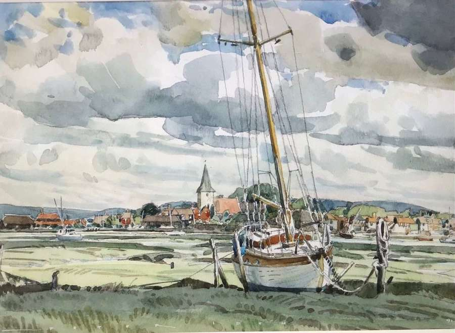 'Watercolour of Bosham' by Chichester artist Peter Iden 1945 - 2012